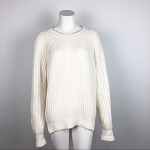 EVERLANE WHITE CHUNKY KNIT SWEATER